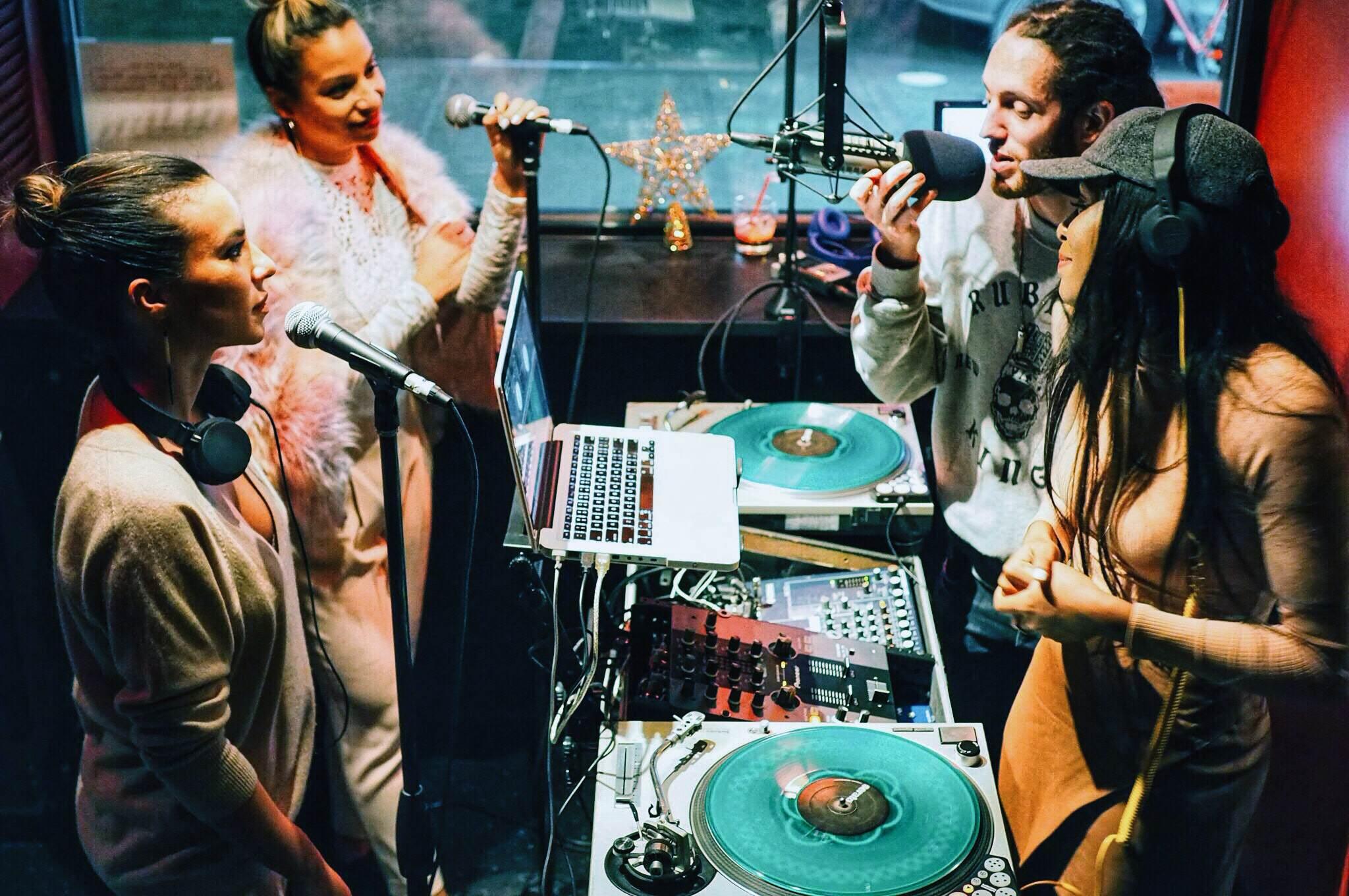 Kieran Meadows  interviewing  Ms. Nix ,  Jasmine Solano  and  Martina McFlyy  on  The REFRESH Radio Show . (Photo: Andre Power)