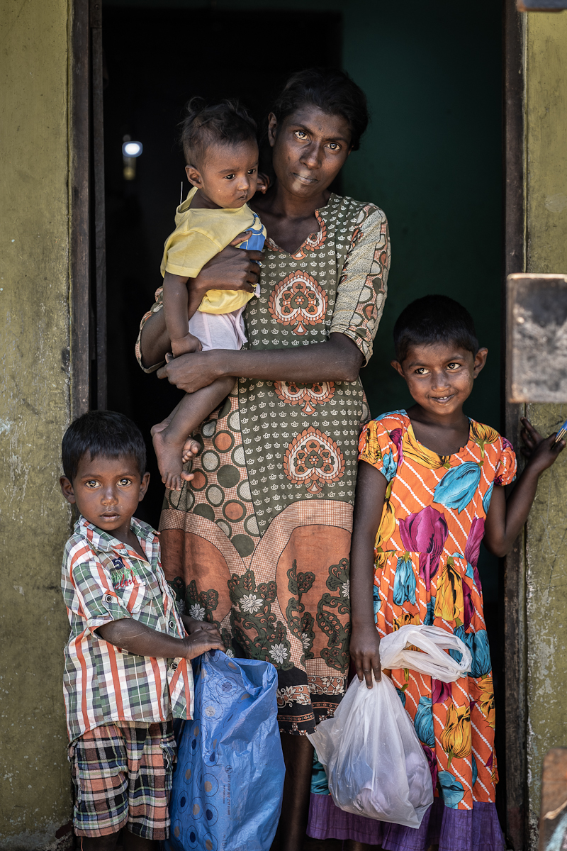 Poverty line - Sri Lankan mother with kids