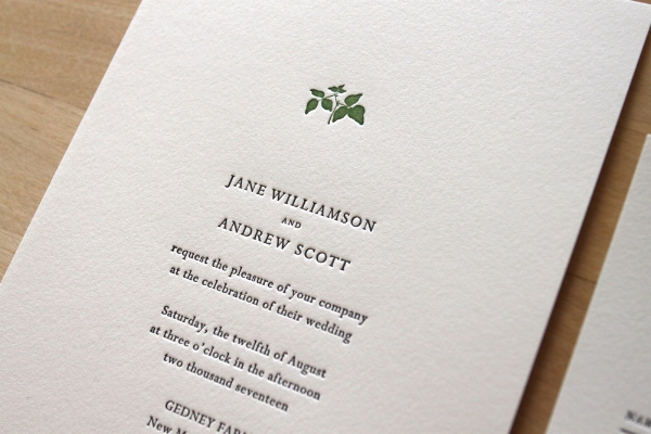 Copy of Small Leaf Letterpress Invitation