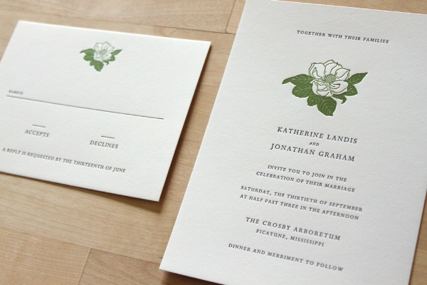 Copy of Magnolia Letterpress Invitation