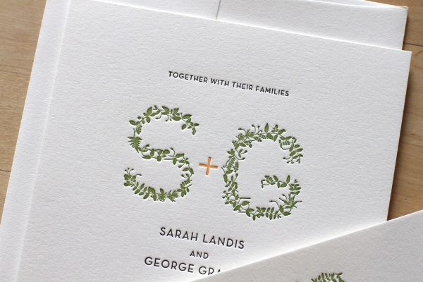 Copy of Garden Monogram Letterpress Invitation