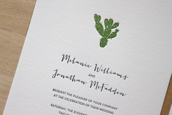 Copy of Cactus Letterpress Invitation