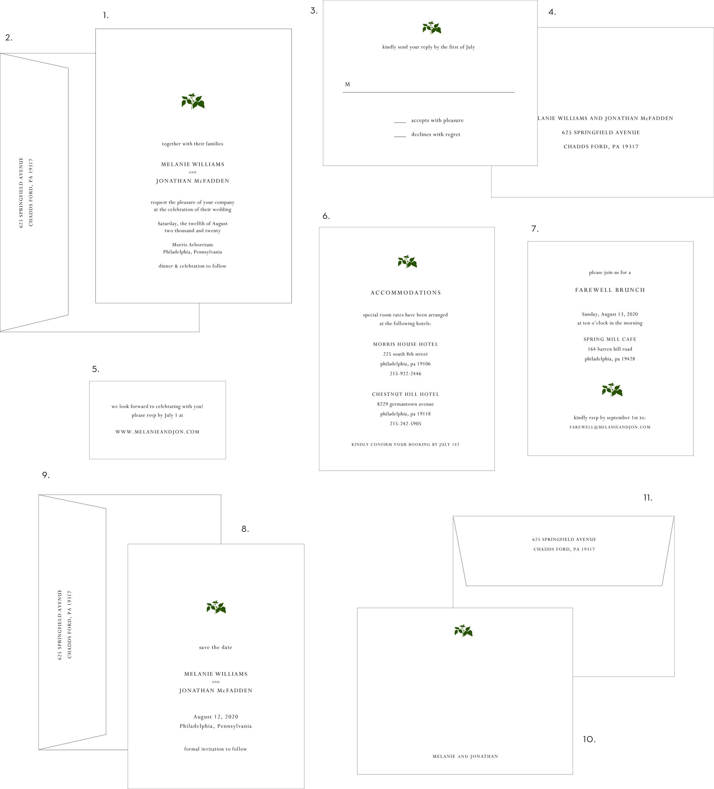Small Leaf Letterpress Wedding Invitation