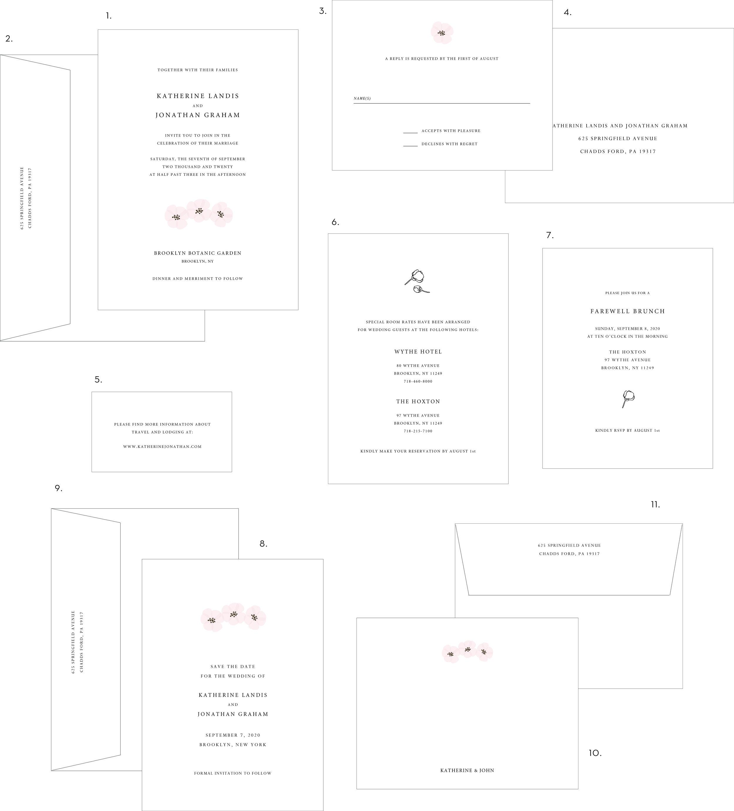 Cherry Blossom Letterpress Wedding Invitation