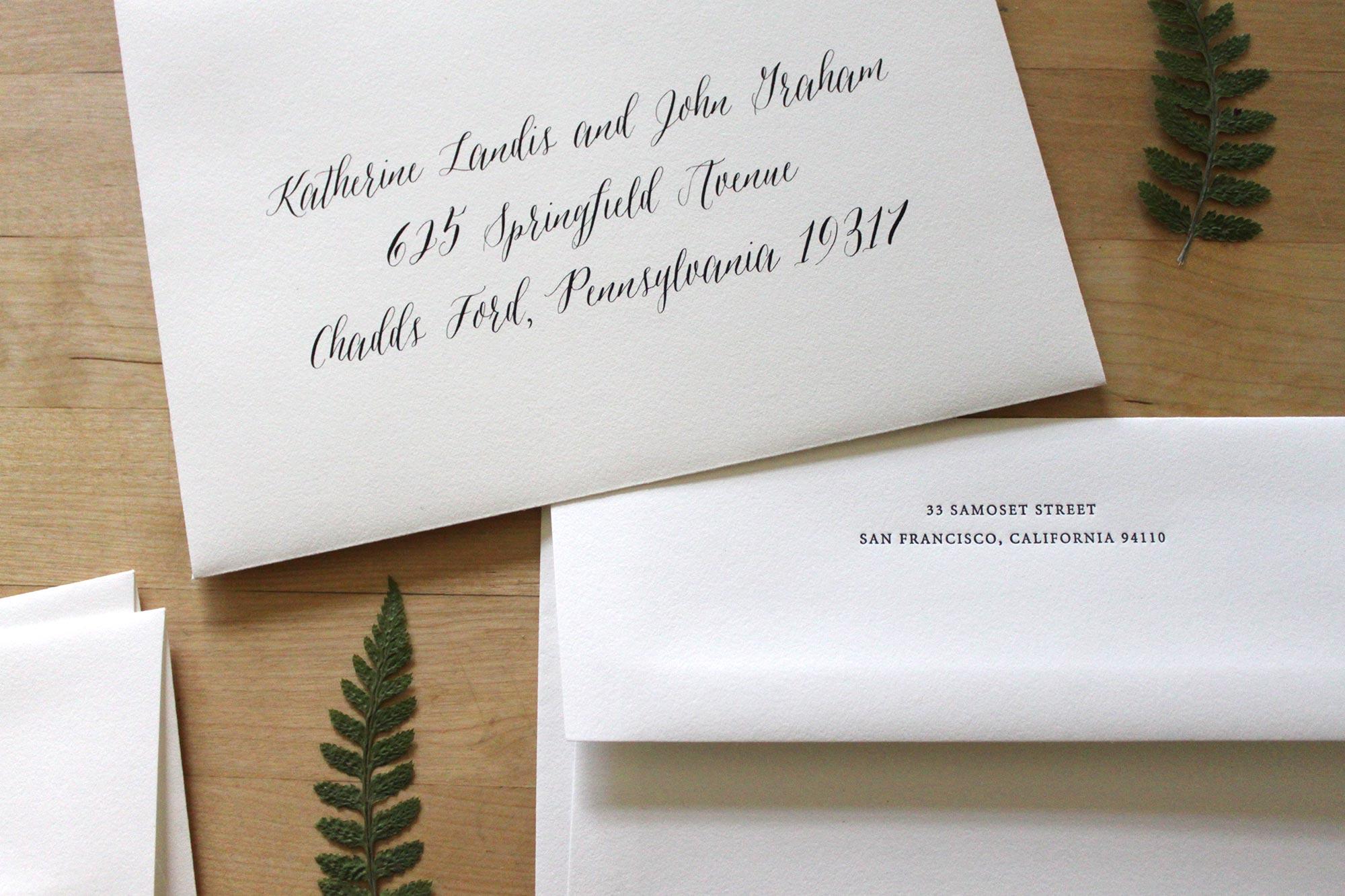 Letterpress Return Address, Digitally Printed Guest Address