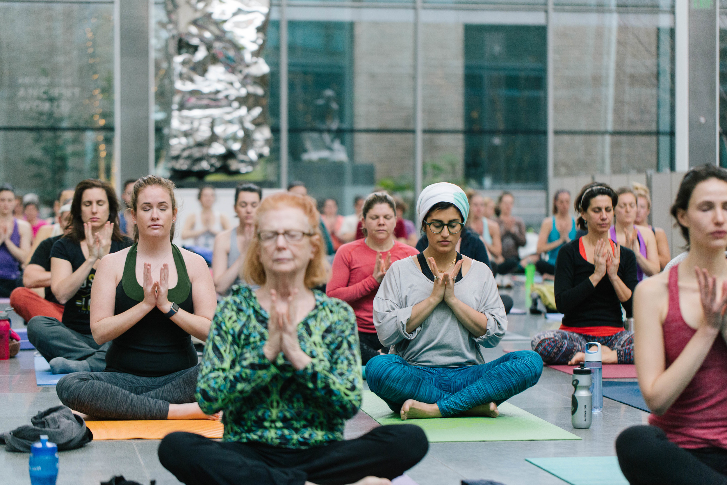 Just before a collective om from 100 yogis at the MFA