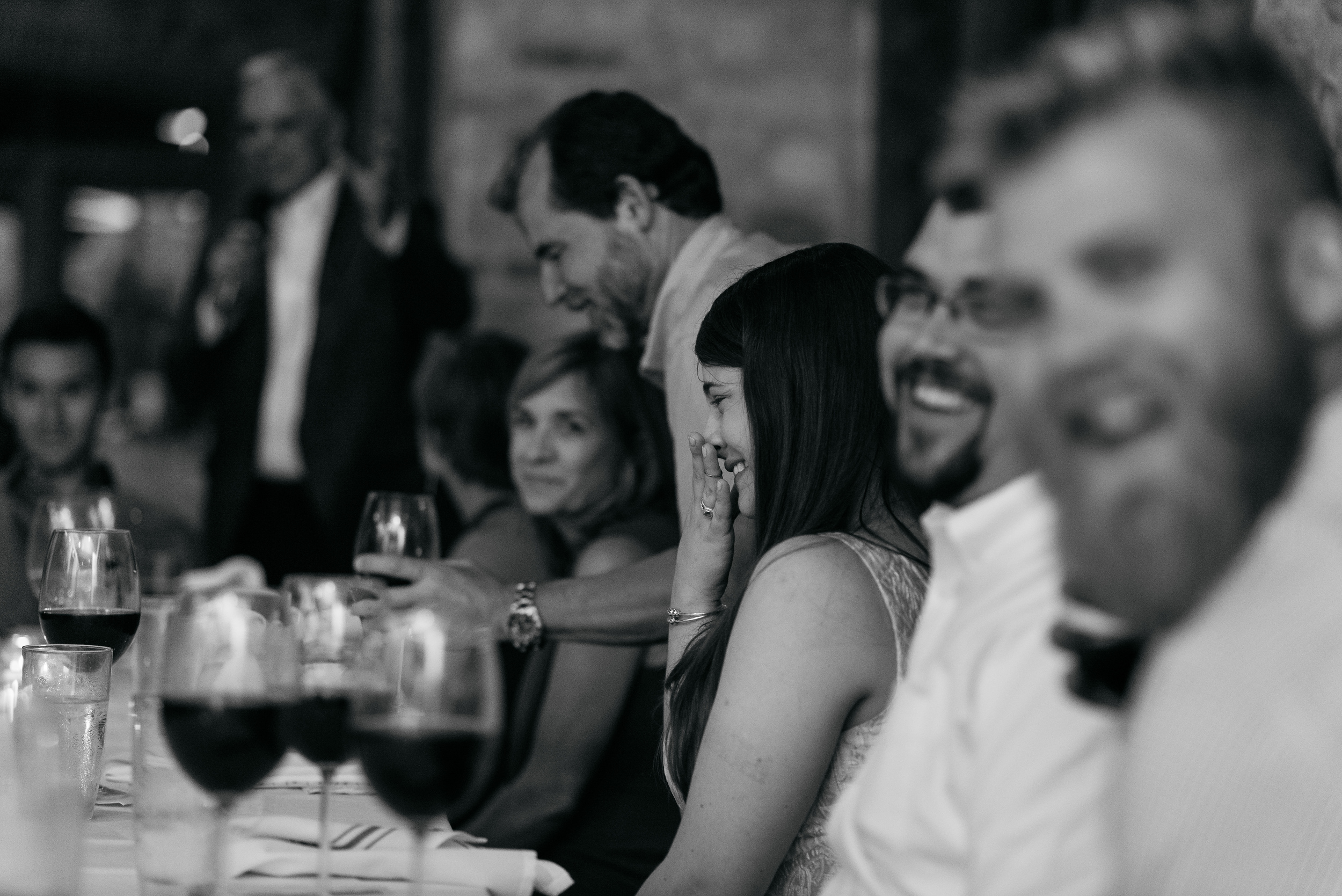 Toasts at the welcome dinner at Trattoria Lisina