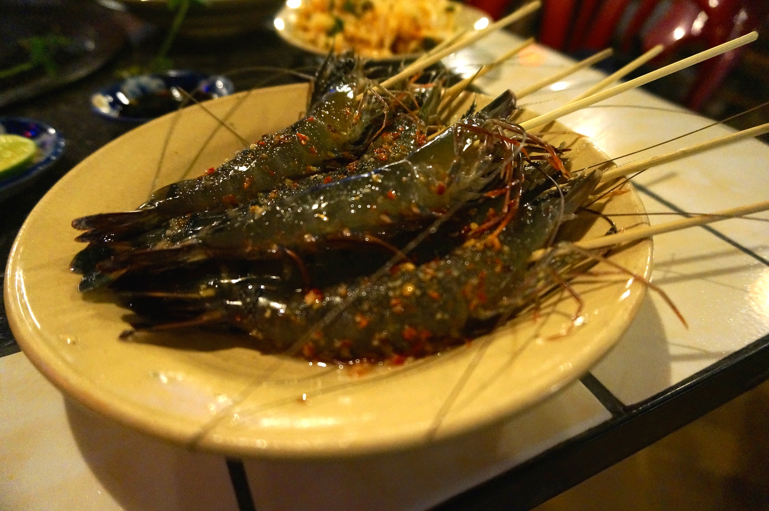 Twitching Prawn Skewers in a Chilli, Lime and Fish Sauce Marinade