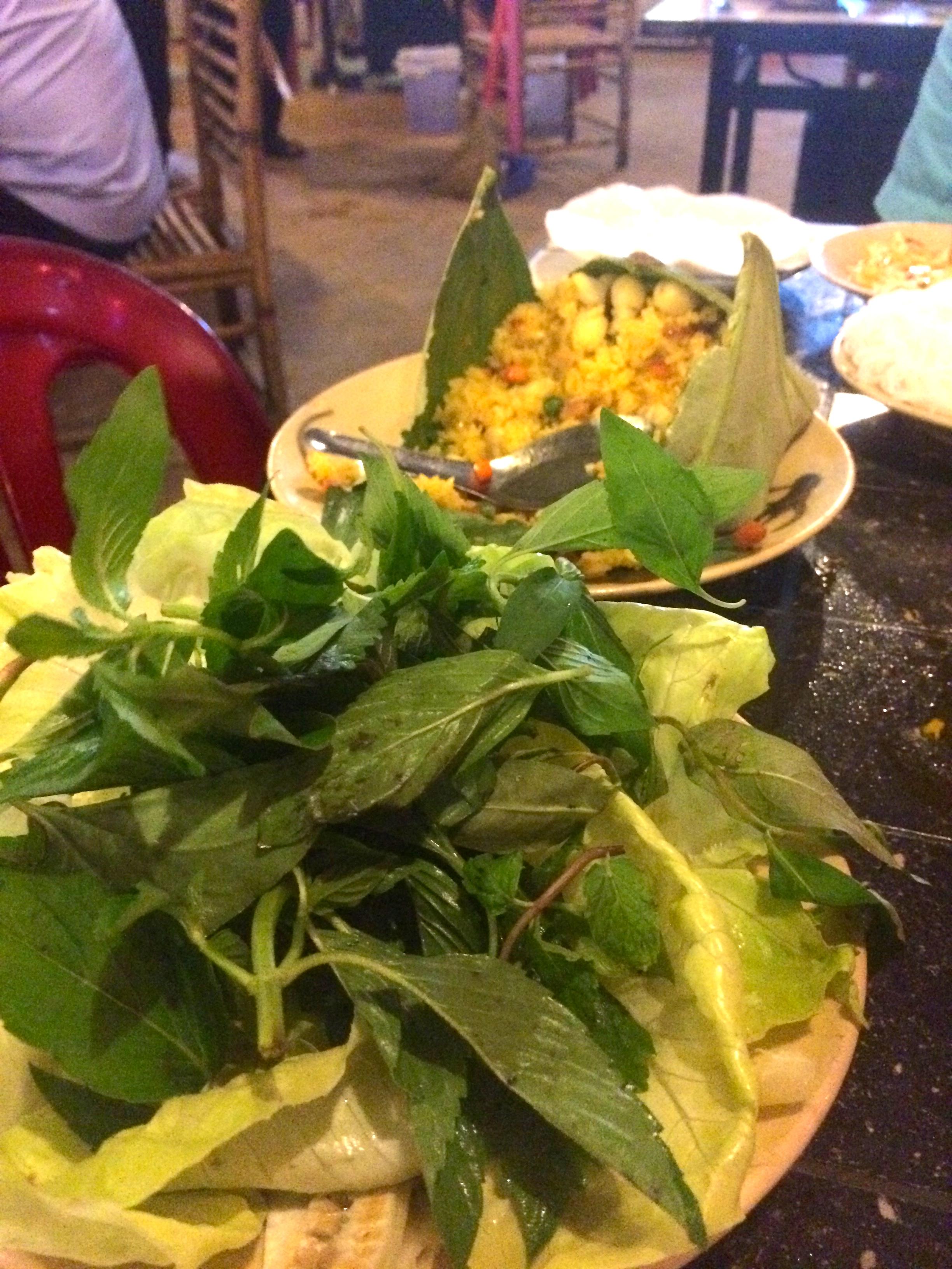 Vietnamese Herbs, Green Bananas and Cucumbers