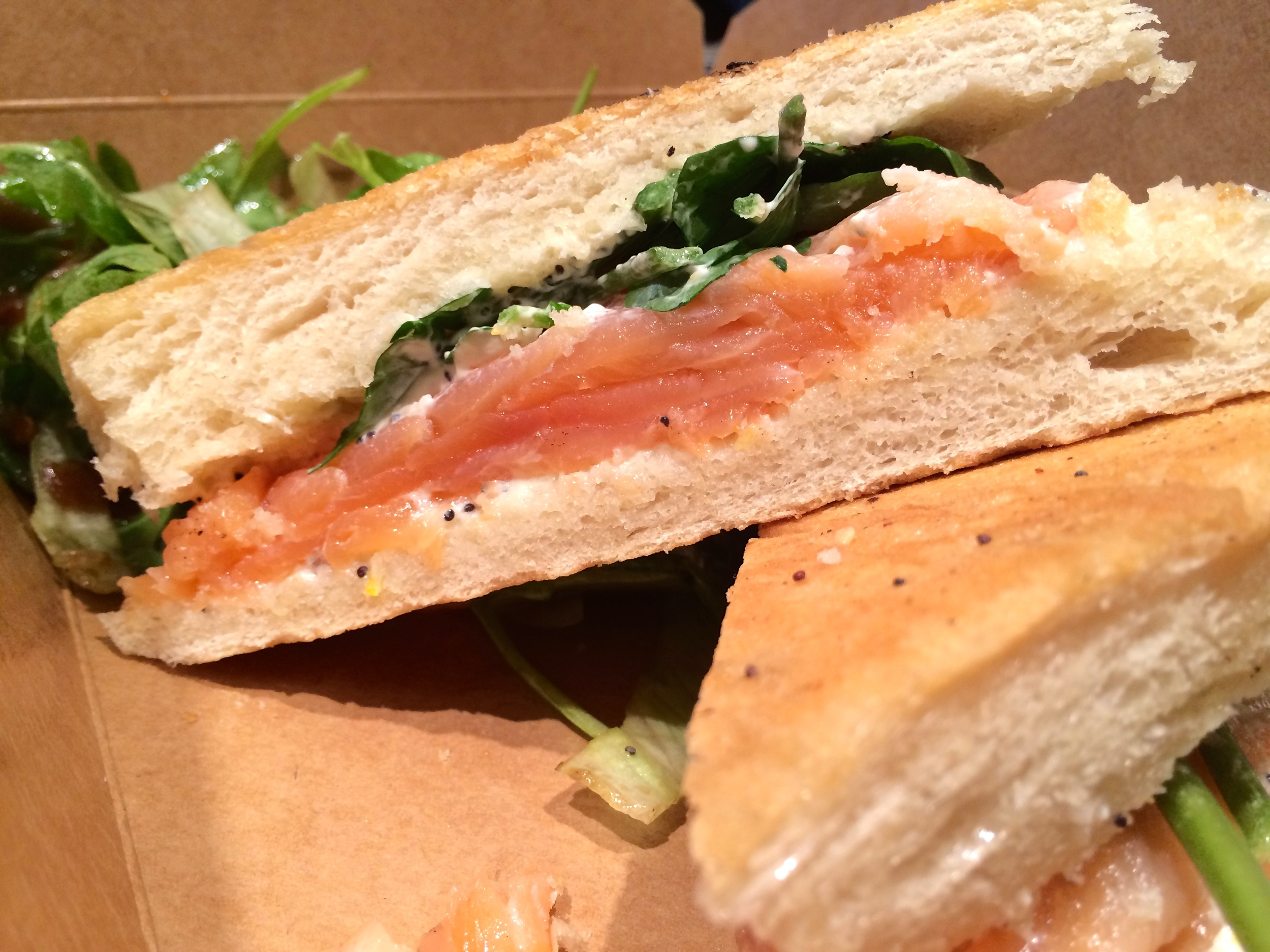 Scottish Smoked Salmon, Watercress, Poppy Seed and Orange Mascarpone Sandwich on Ciabatta