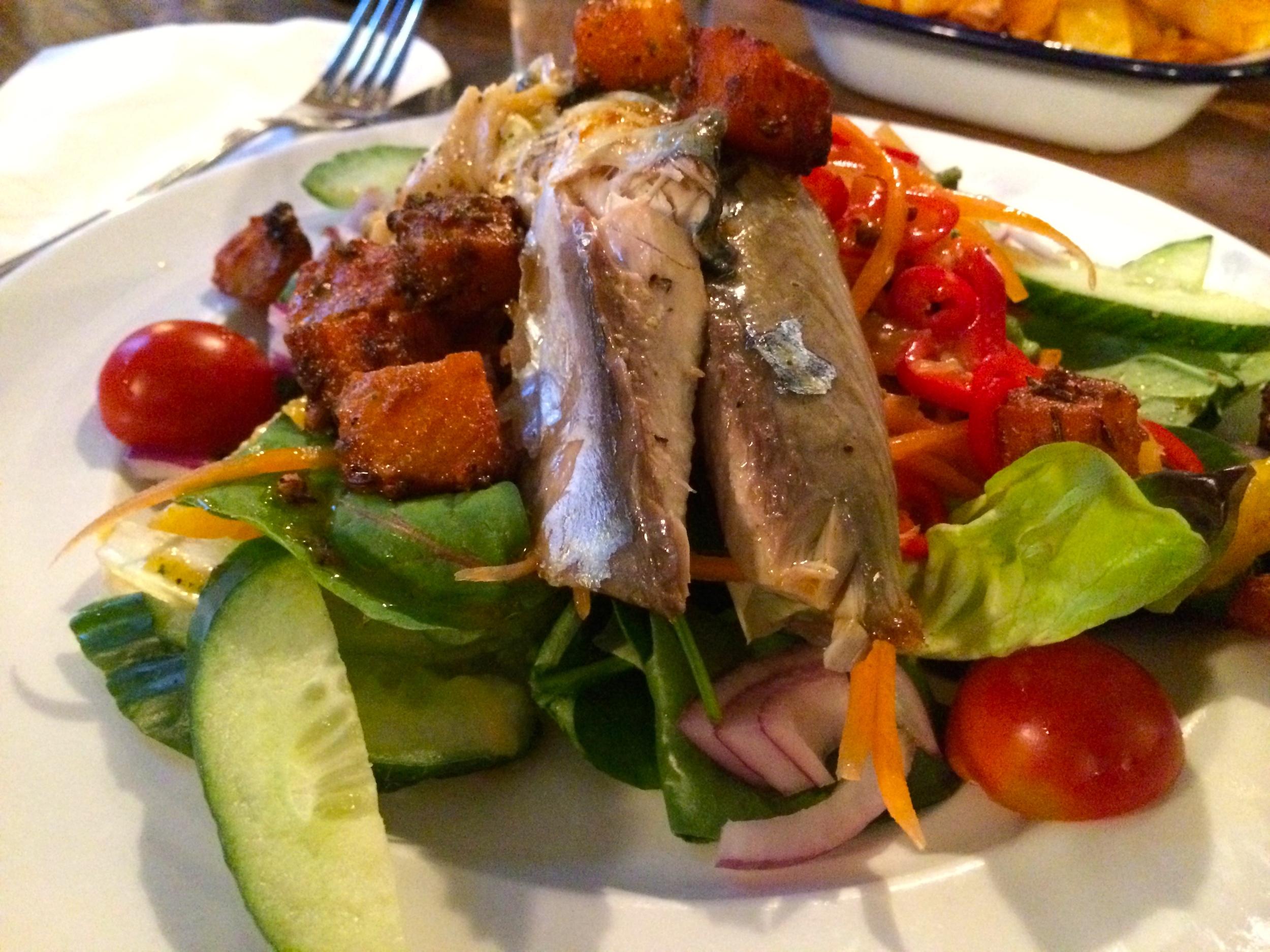 Warm Mackerel, Watercress, Squash, Orange and and Chilli Salad
