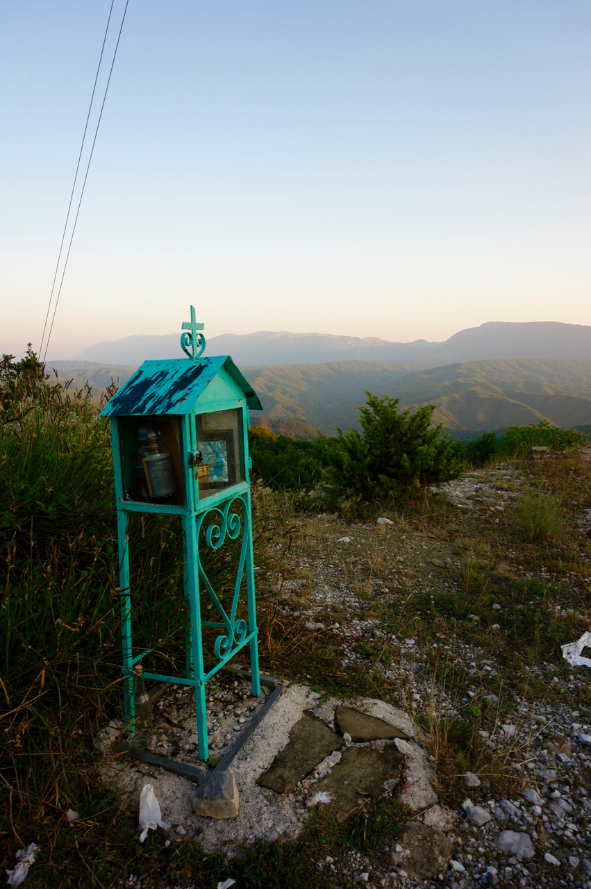 turquoise zagoria roadside shrine