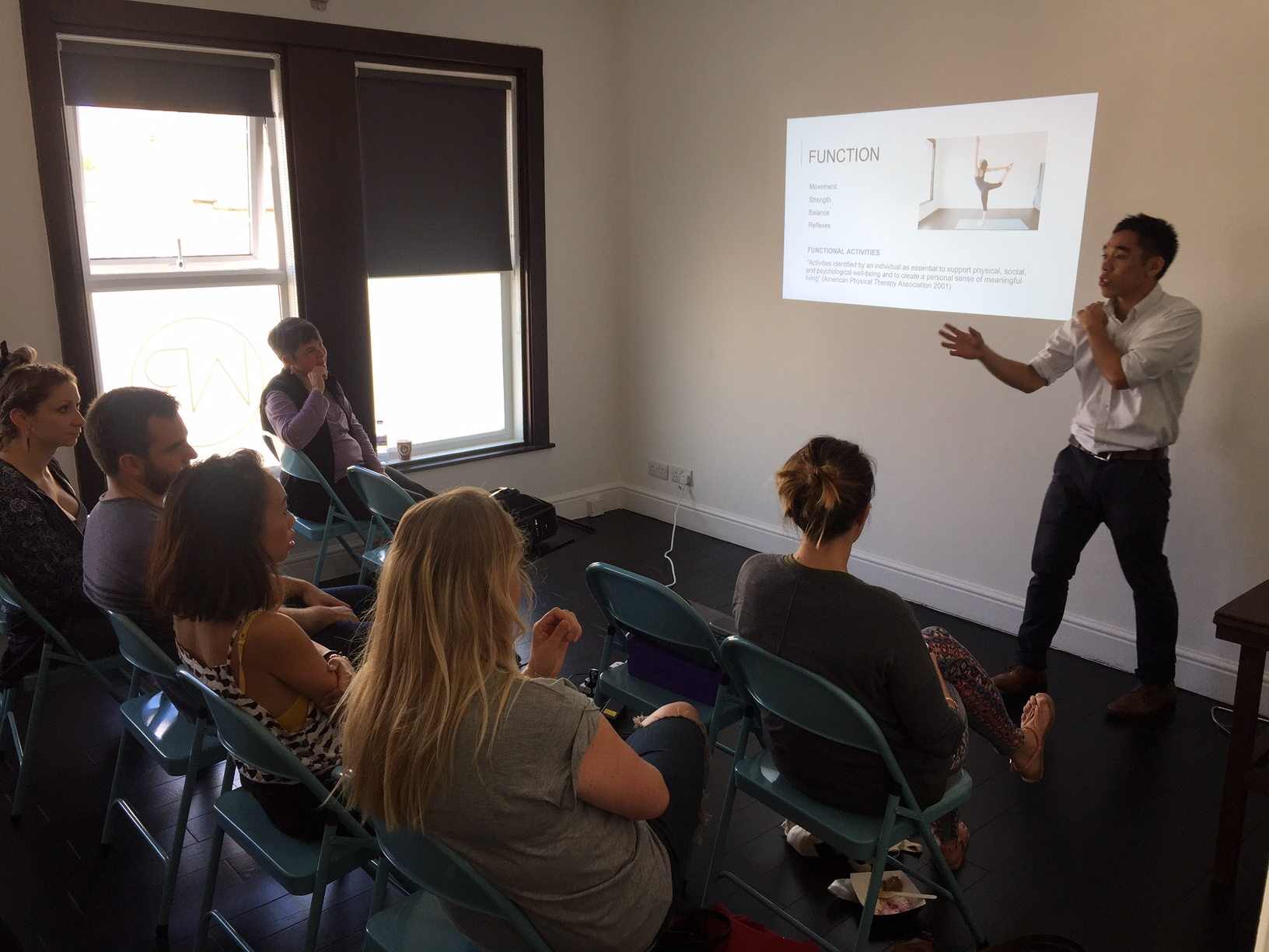 It was a full house for Chiropractor Simon who presented a talk on the basics of spinal health