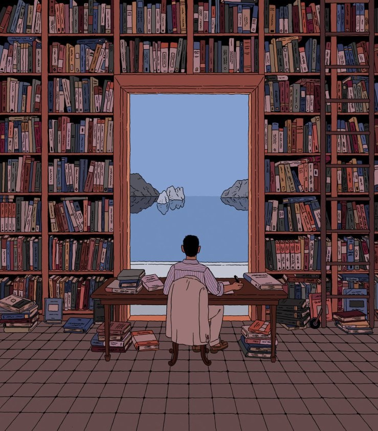 A Library by the Tyrrhenian Sea, 2018 by Ilya Milstein. Ilustración descubierta gracias a  @ molinos1282