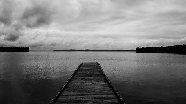 Sebago Lake today . . . #maine #raymond #casco #sebagolake #pier #fog