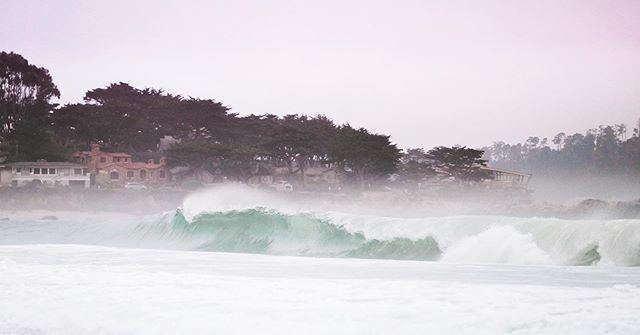 Foggy evening waves at #carmelbeach #carmelbythesea #monterey