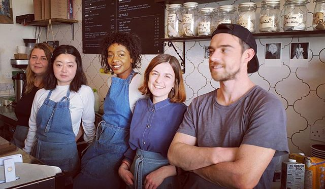 Spring hath sprungeth and we're soaking up each other's delightful vibes today!! #springhathsprungeth #spring #appestat #coffeeshop #angel #team