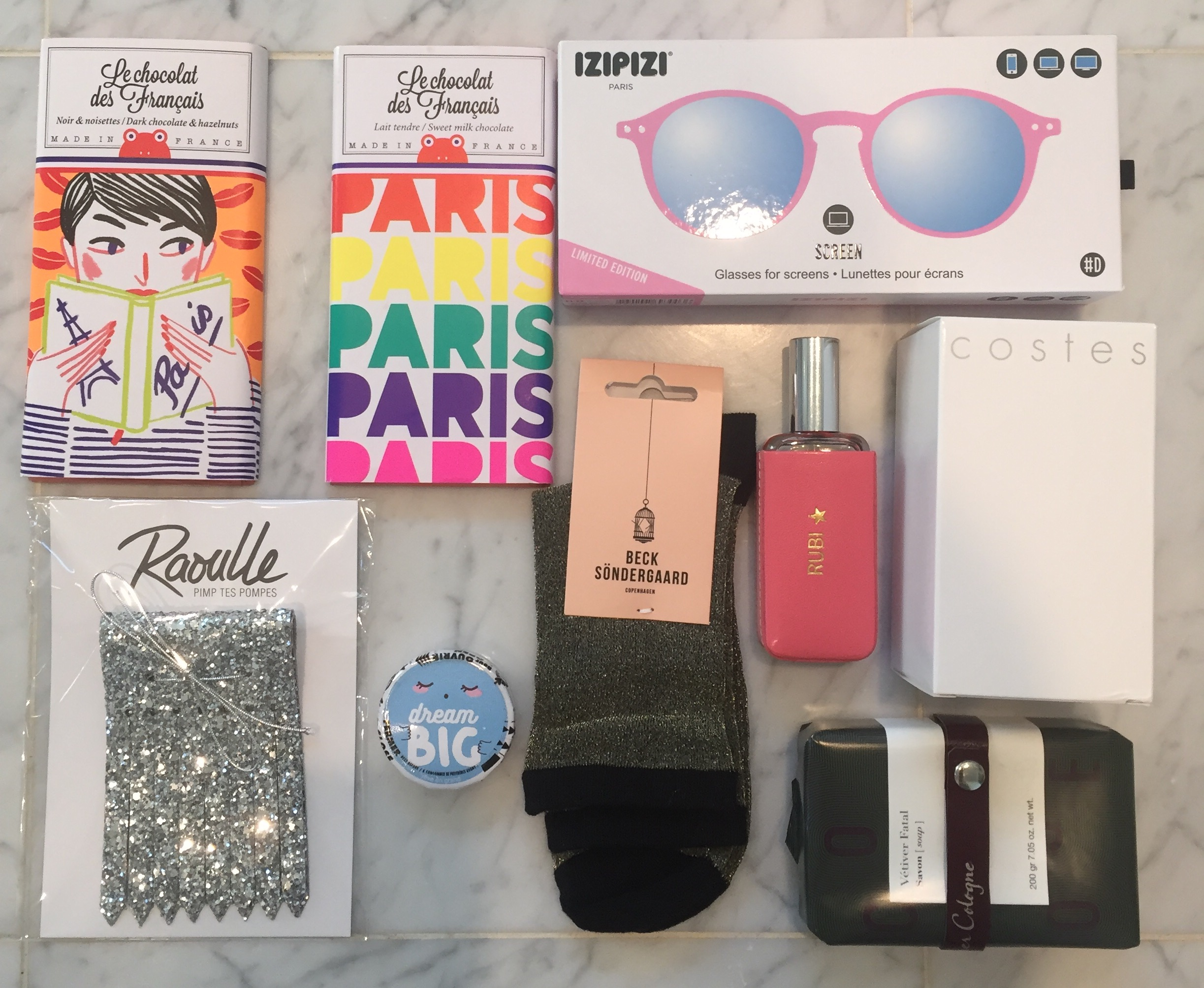 from RUBI -- Parisan chocolates from Colette, special lenses for 'screen' work (in pink of course!), sparkle tassels for her sneakers, sparkle socks (sparkle is a trend fashionlovers), personalized parfume with leather case and Hotel Costes room spray!