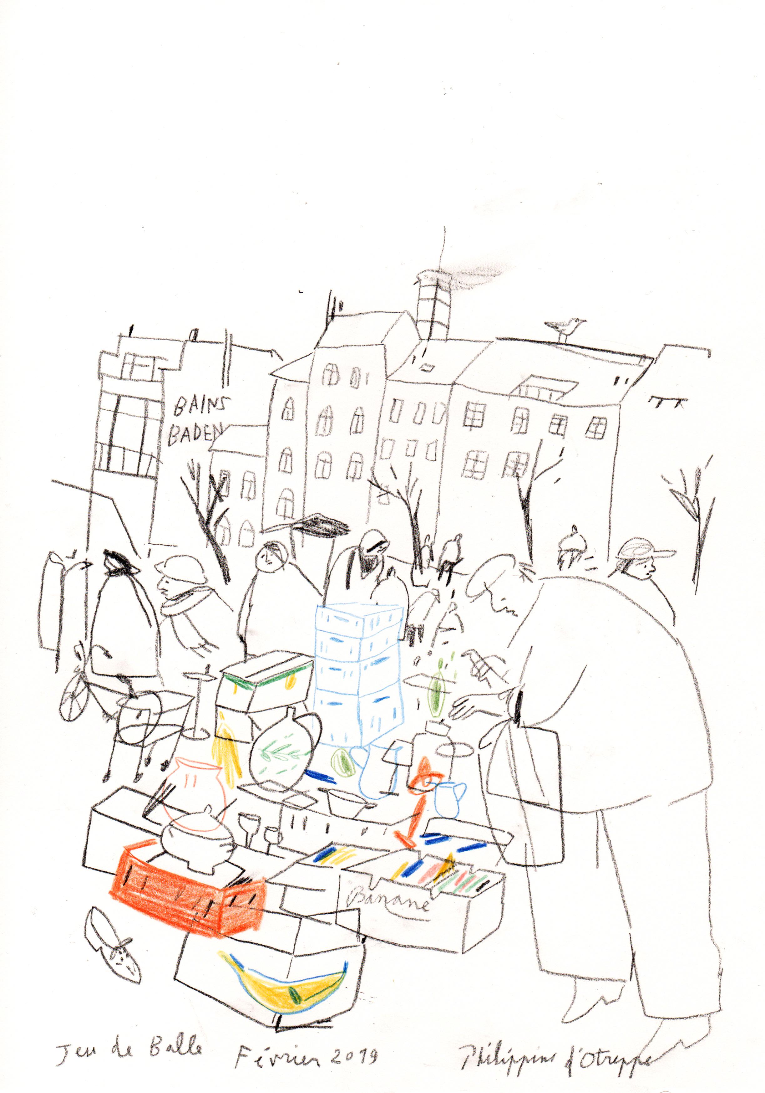 Croquis 'Jeu de Balle' crayons- 2019 A4