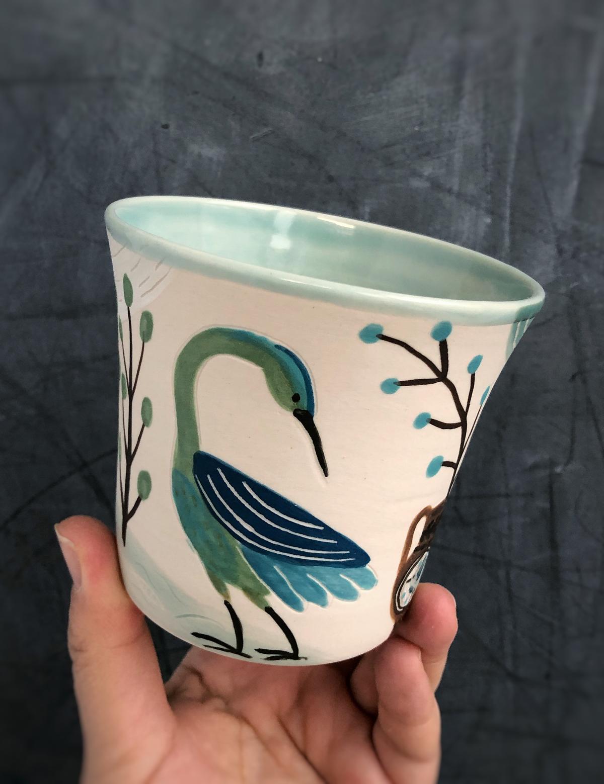 Gabrielle_Schaffner_painted _porcelain_tumbler_heron.jpg