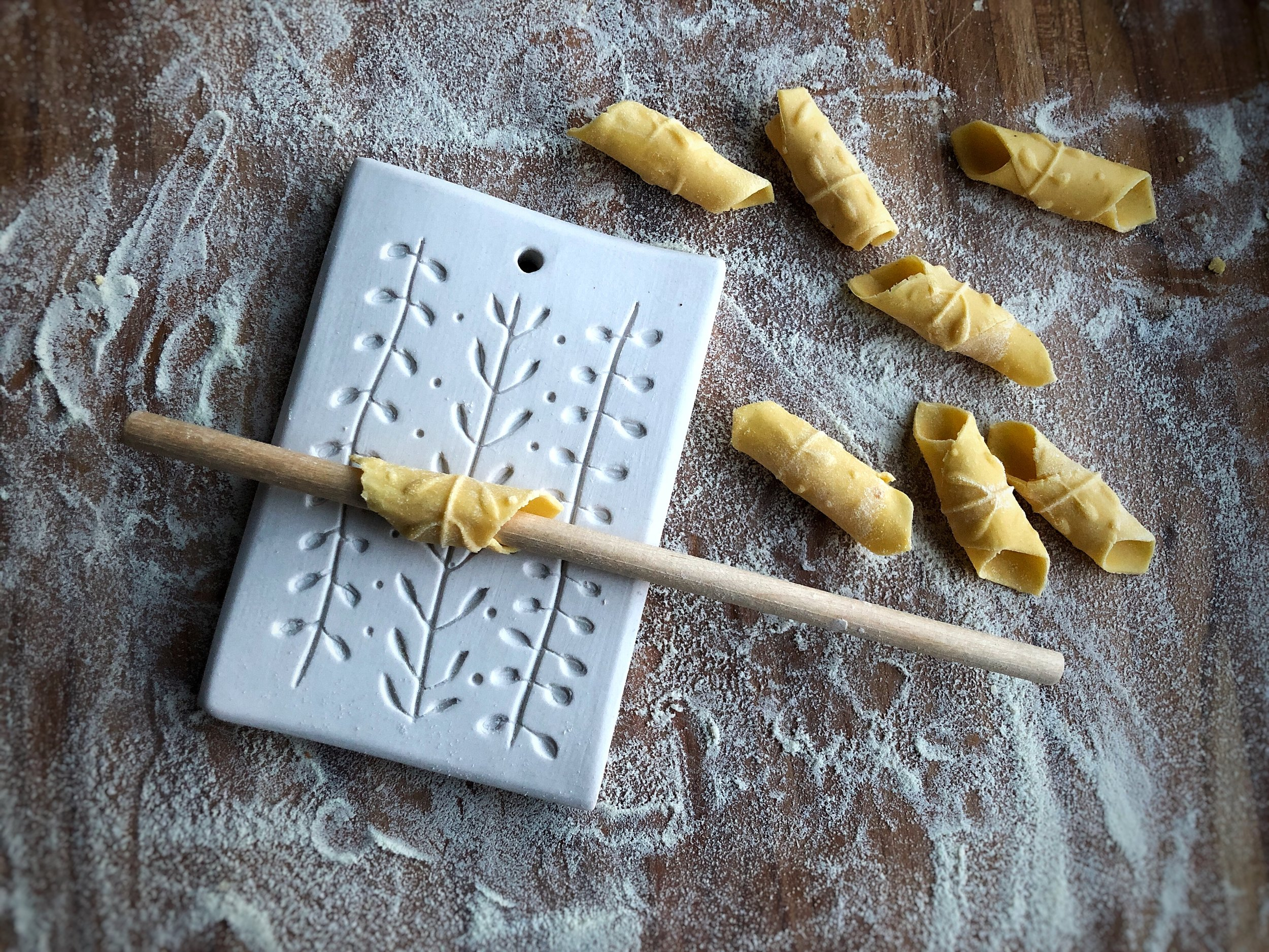 making garganelli on my porcelain pasta board