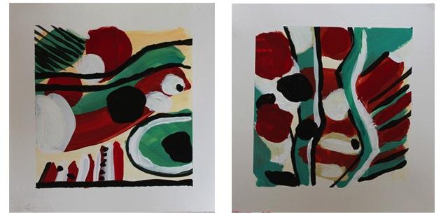 "Acrylic on paper. Each 8 x8"""