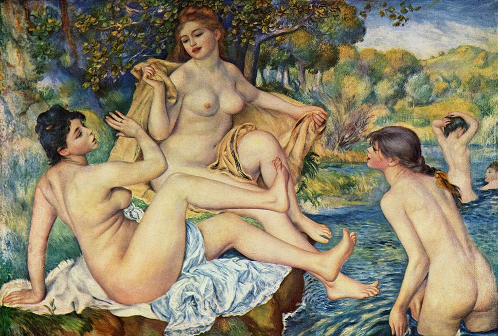 Pierre-Auguste Renoir  ,   The Large Bathers, 1887  ,   Philadelphia Museum of Art  ,  Image via The Yorck Project.