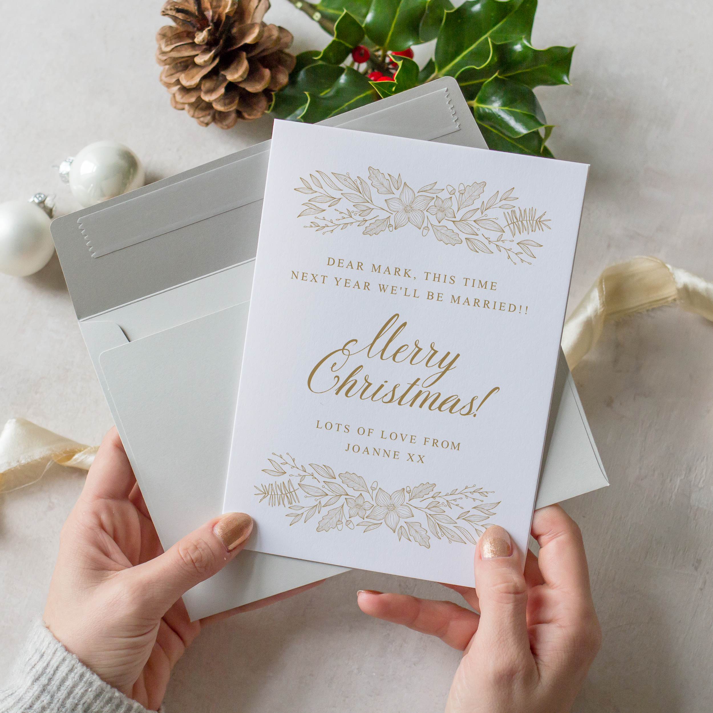Personalised Fiance Christmas Card, Hand Illustrated Christmas Cards, Hygge Christmas Card, Unique Christmas Card  with Envelope.jpg