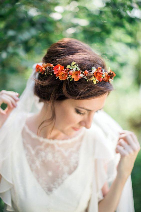 Floral Crown - Pumpkin Wedding Inspiration, Autumnal Wedding Ideas, Autumn Wedding Style - Pingle Pie.jpg