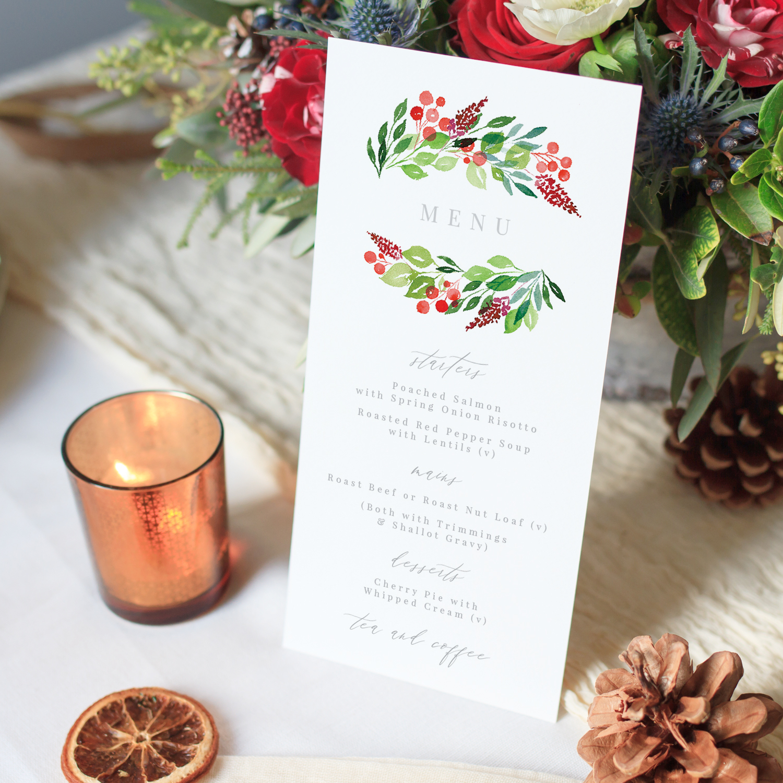 Wintery Menu, Winter Greens and Red Berries, Hand Painted Wedding Stationery.jpg