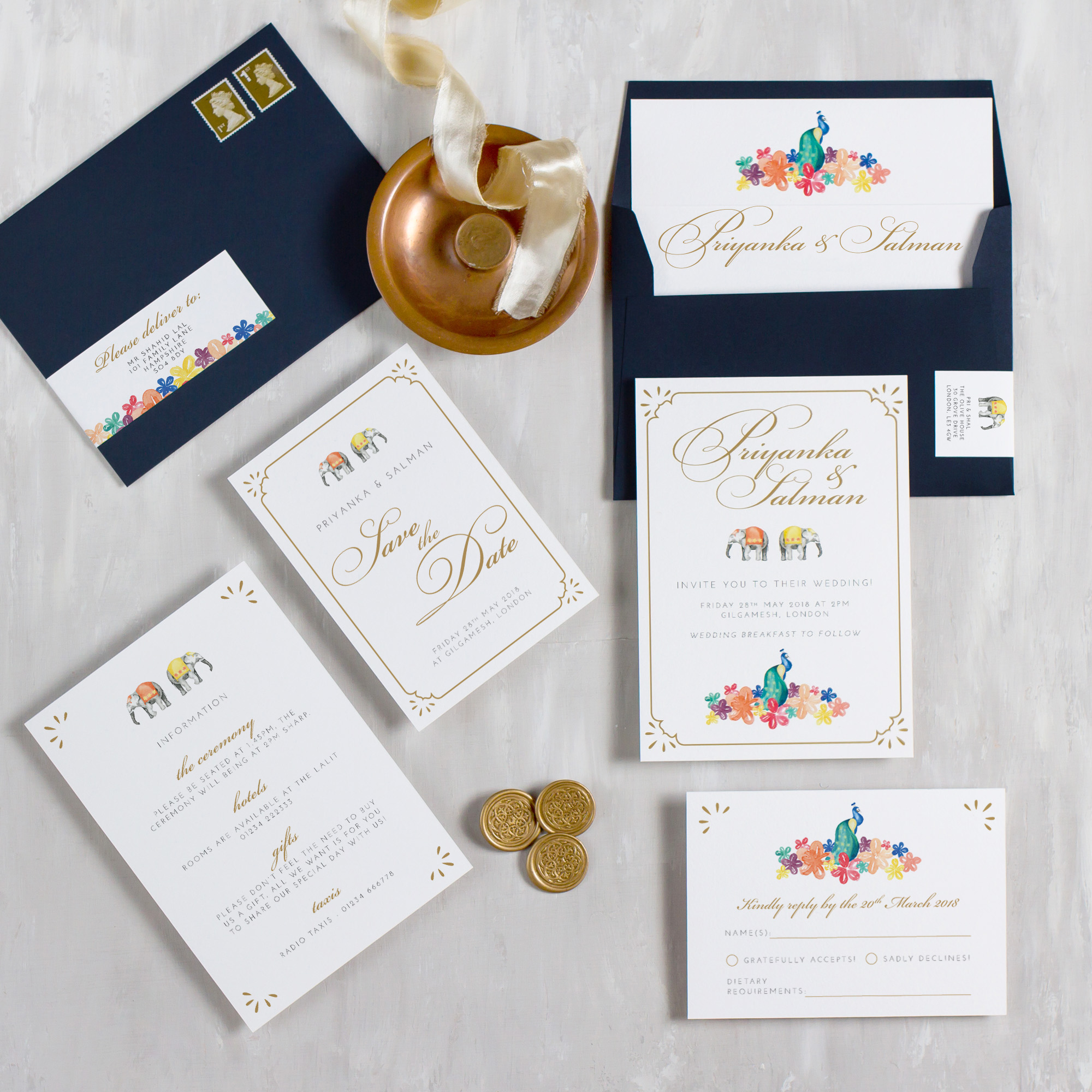 Indian-Summer-Wedding-Stationery-Luxury-Unique-Hand-Painted-Botanical-Peacock-Elephant-Summer-Bright-Gold-Hand-Painted-Wedding-Invitation-Collection-Pingle-Pie.jpg
