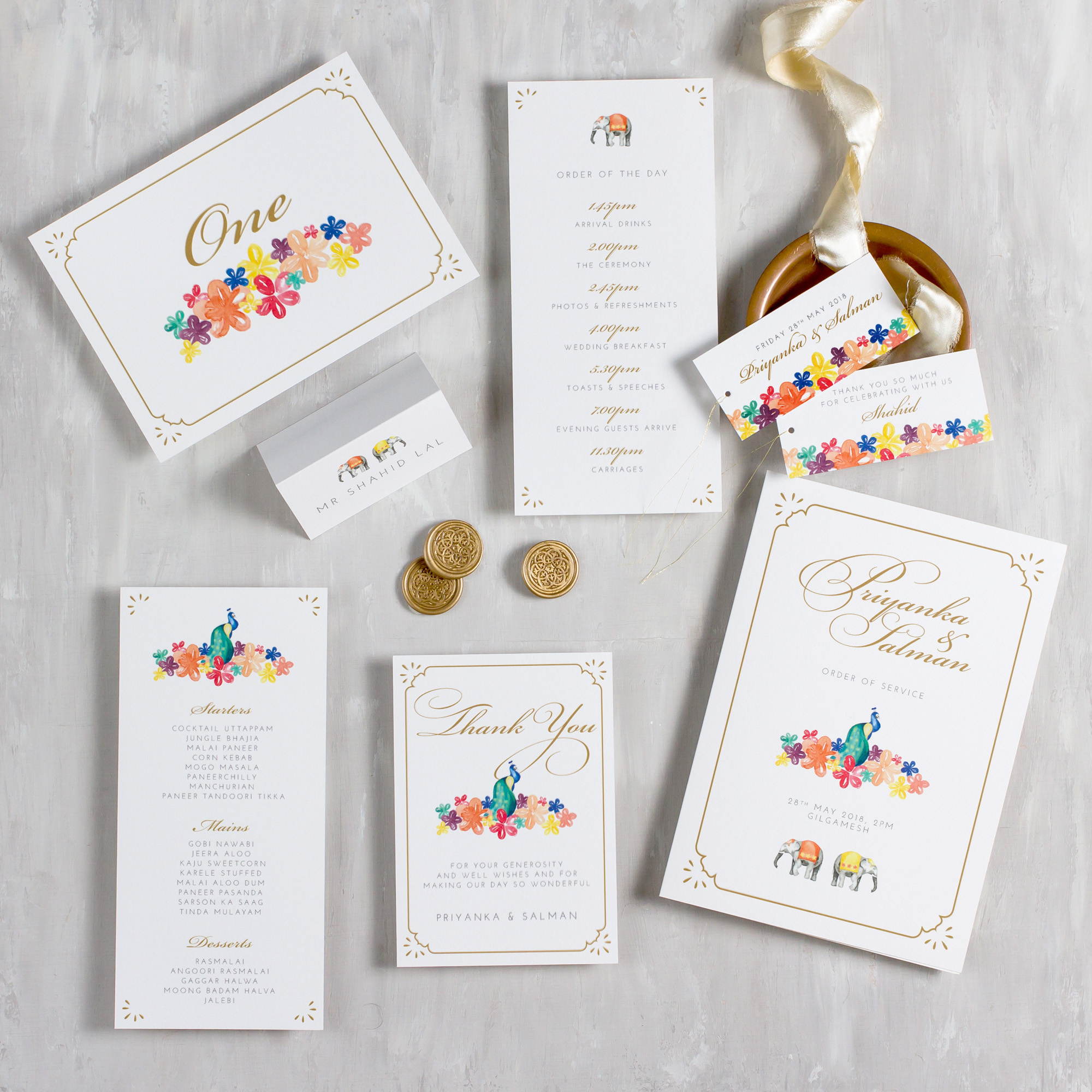 Indian-Summer-Wedding-Stationery-Luxury-Unique-Hand-Painted-Botanical-Peacock-Elephant-Summer-Bright-Gold-Hand-Painted-Wedding-On-The-Day-Collection-Pingle-Pie.jpg