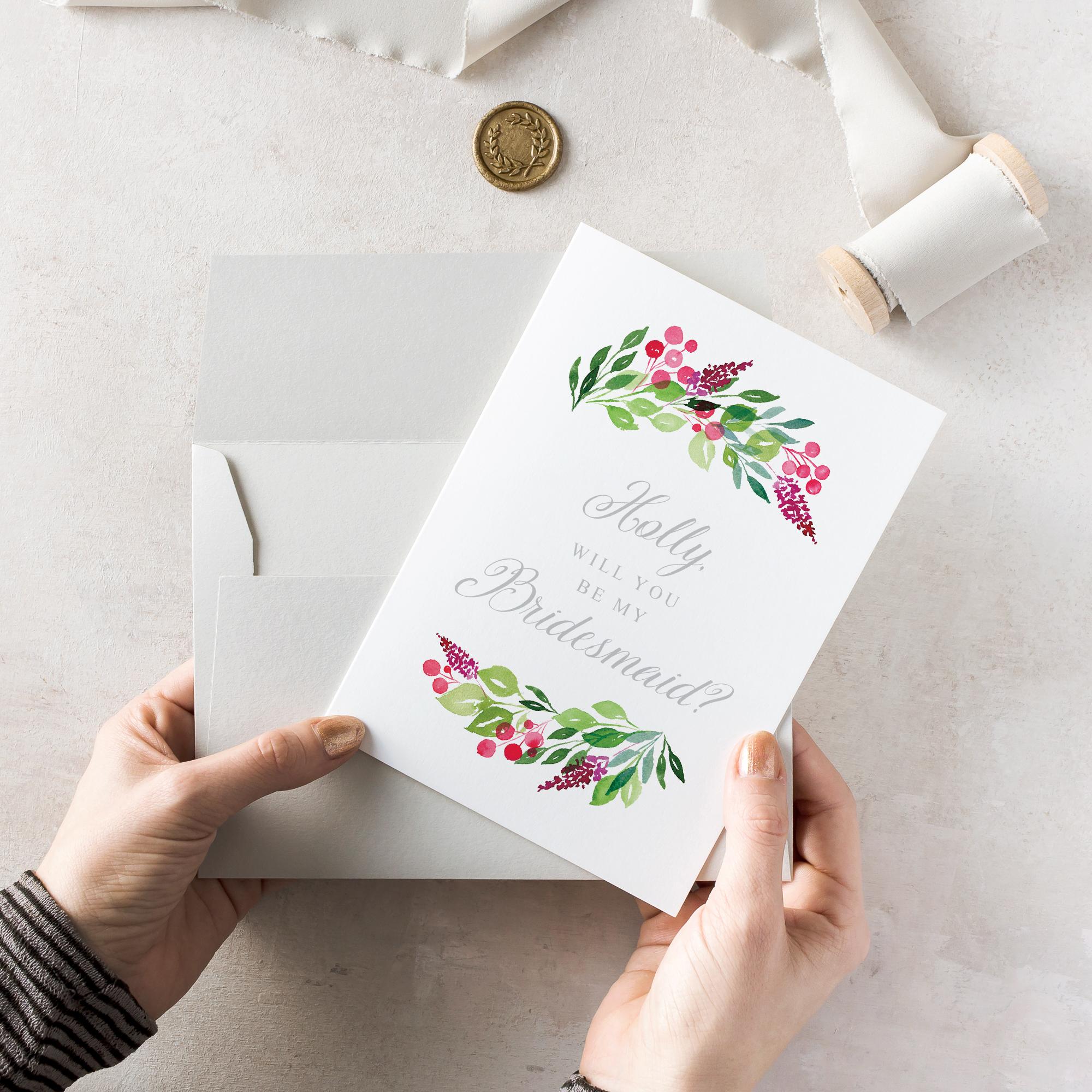 Personalised Wax Seal Bridesmaid Proposal Card, Will You Be My Bridesmaid Card, Say You'll Be My Bridesmaid Card, Card For Bridesmaid, Hand Painted Watercolour Floral Pink  Berries Flatlay - Bridesmaid.jpg