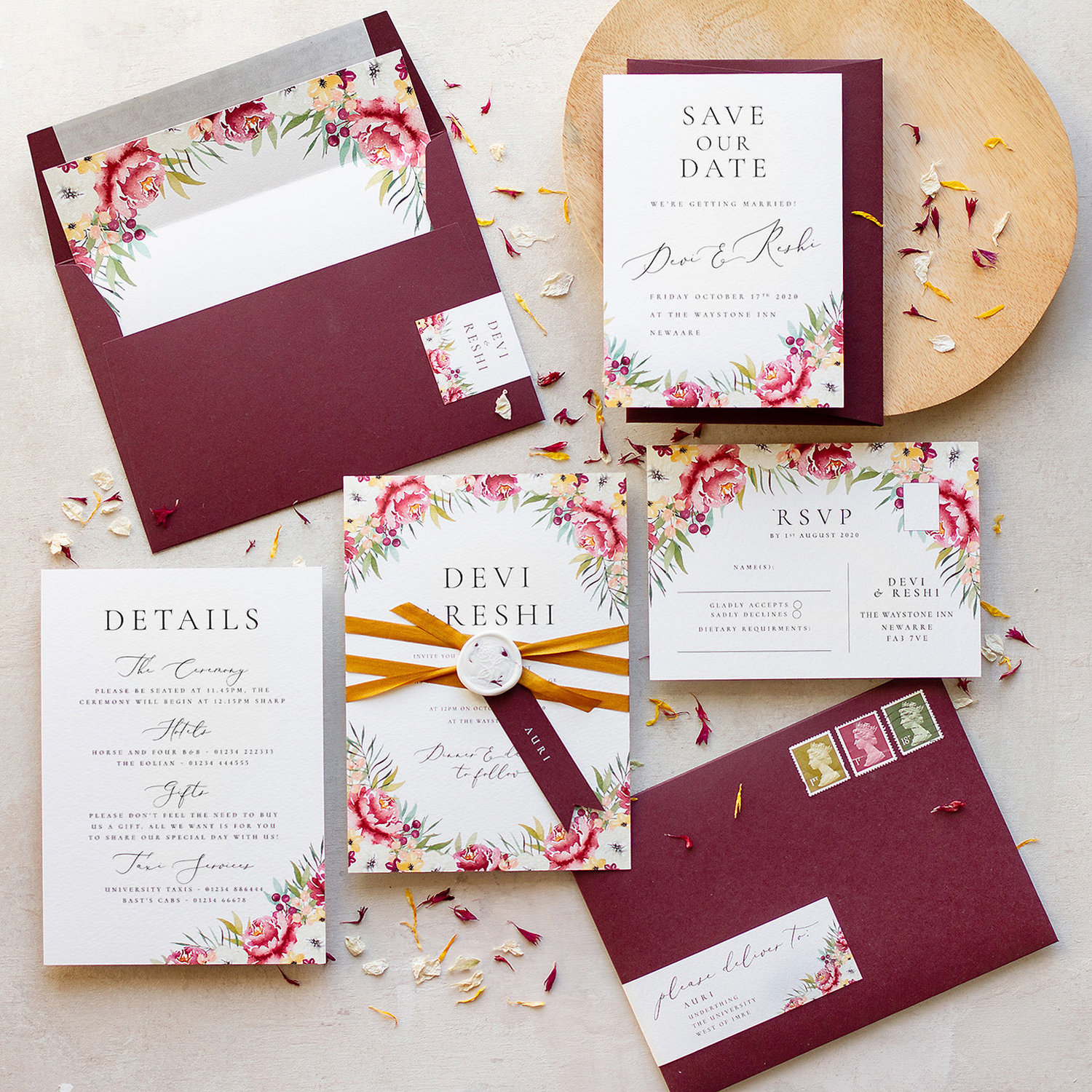 Autumn Wedding Invitation And Stationery Collection With Illustrated Watercolour Leaves Pingle Pie
