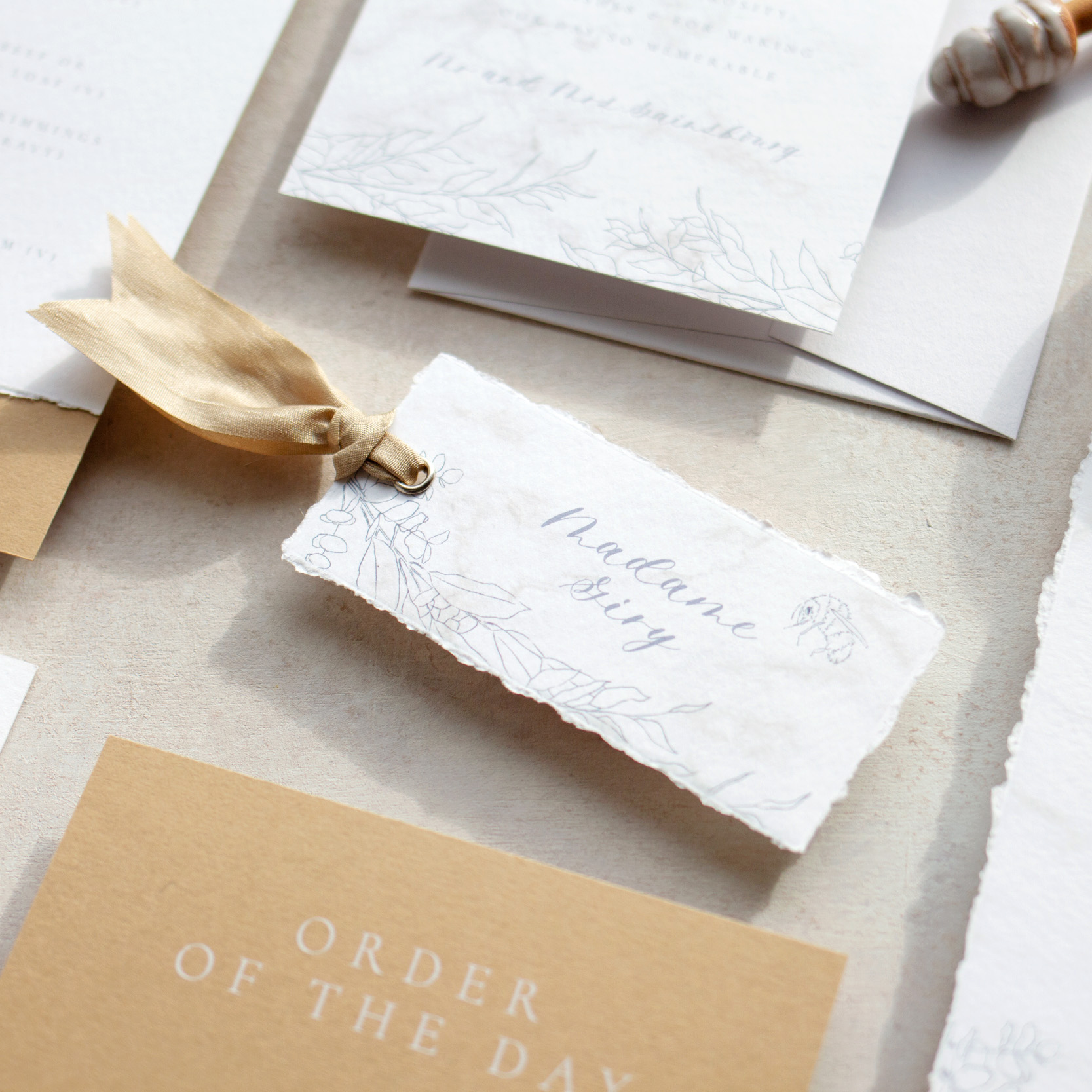 Bumble Bee Deckled Edges Place Card with Silk Ribbon - www.pinglepie.com.jpg