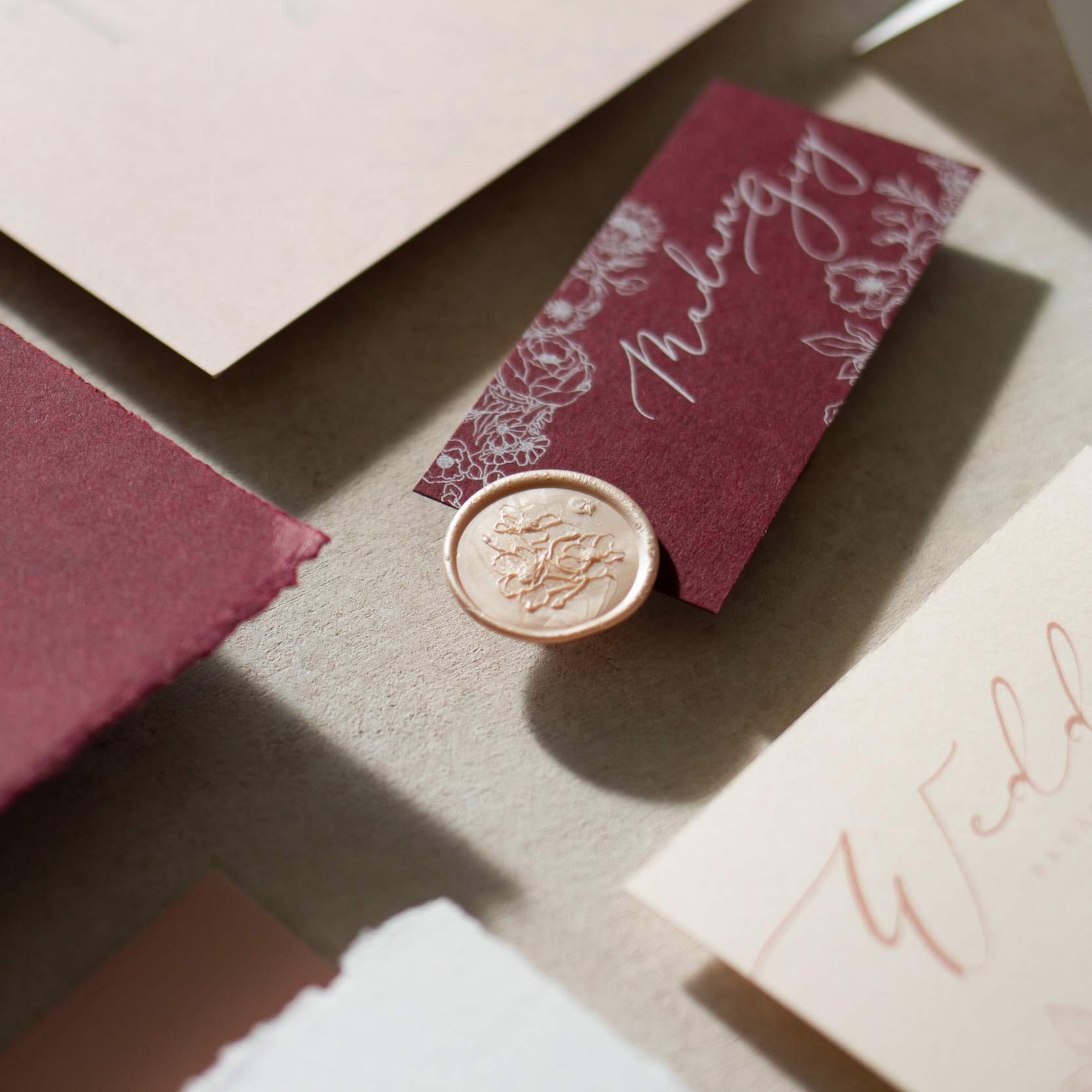 Blush Petals Unique on the Day Wedding Stationery Place Card Tag with Guest Name Printing - www.pinglepie.com.jpg