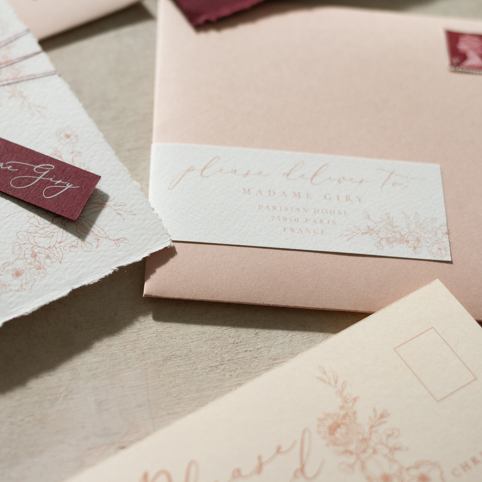 Blush Petals Luxury Fine Art Wedding Stationery with Illustrate Floral Details - www.pinglepie.com.jpg