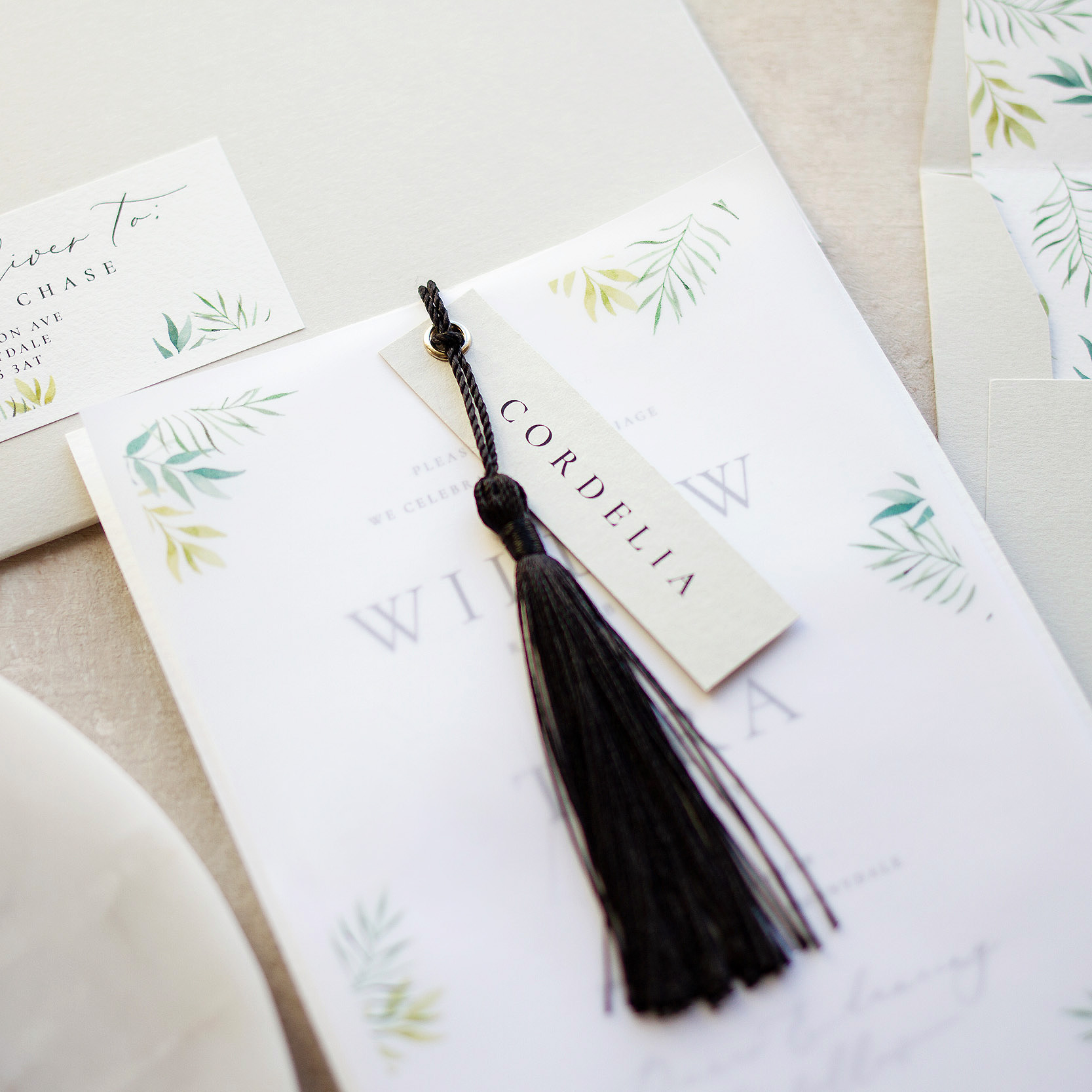 Minimal Botanical Unique Invitation with Hand Painted Details, Velum Wrap and a Black Tassel  - www.pinglepie.com.jpg