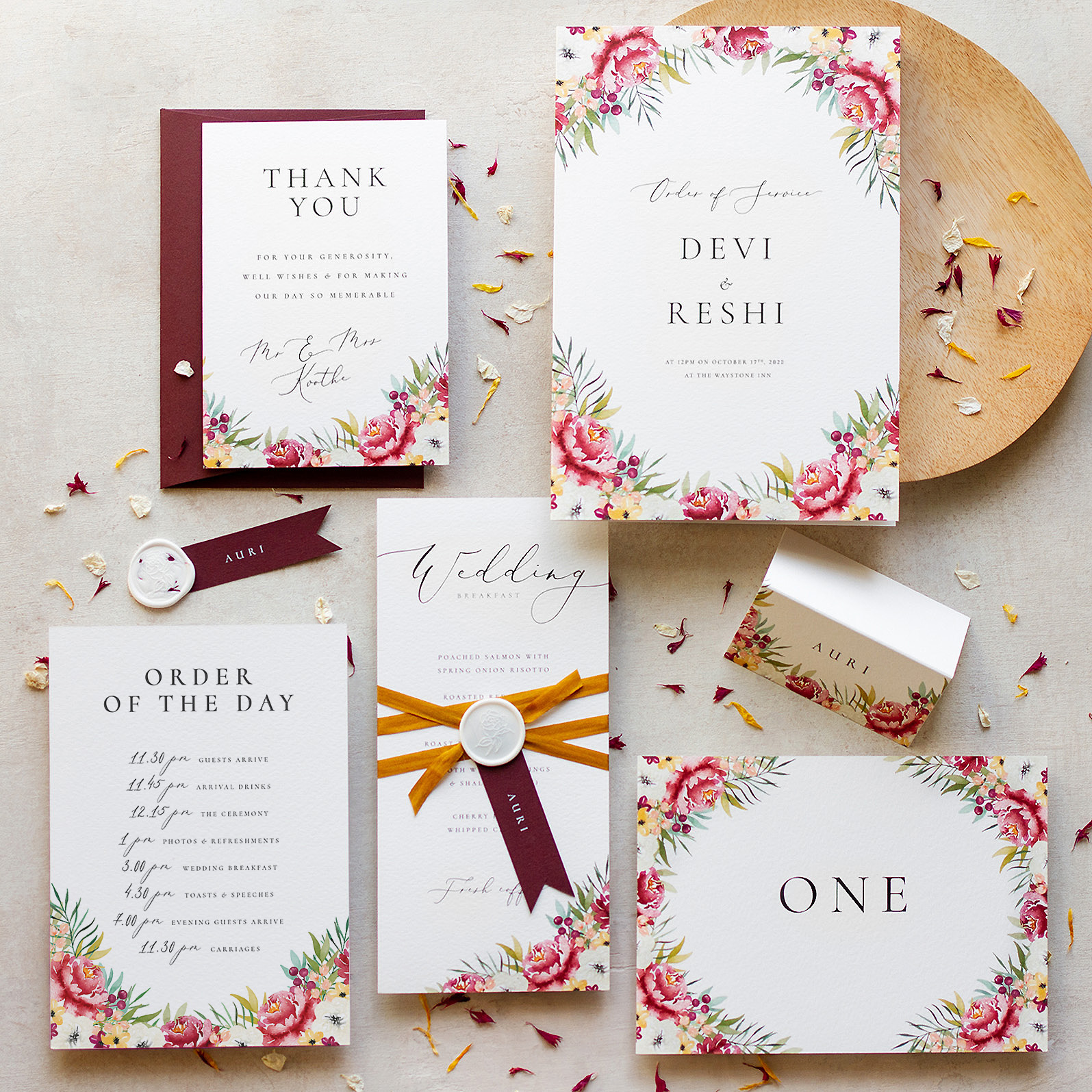 Autumn Leaves Luxury On The Day Wedding Stationery with Hand Painted Botanical Illustrations - www.pinglepie.com.jpg