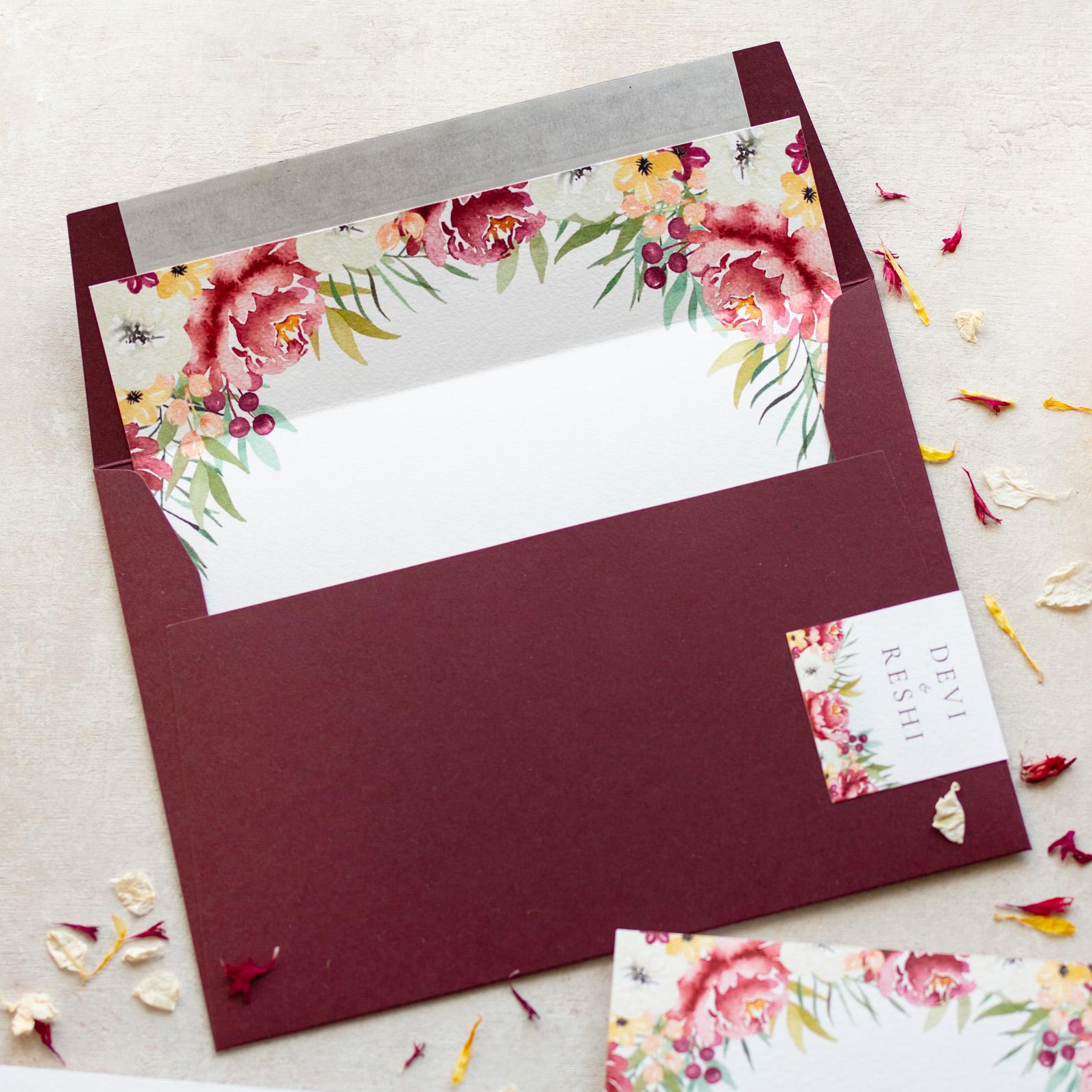 Autumn Leaves Unique Wedding Invitation Envelope Desgin - www.pinglepie.com.jpg