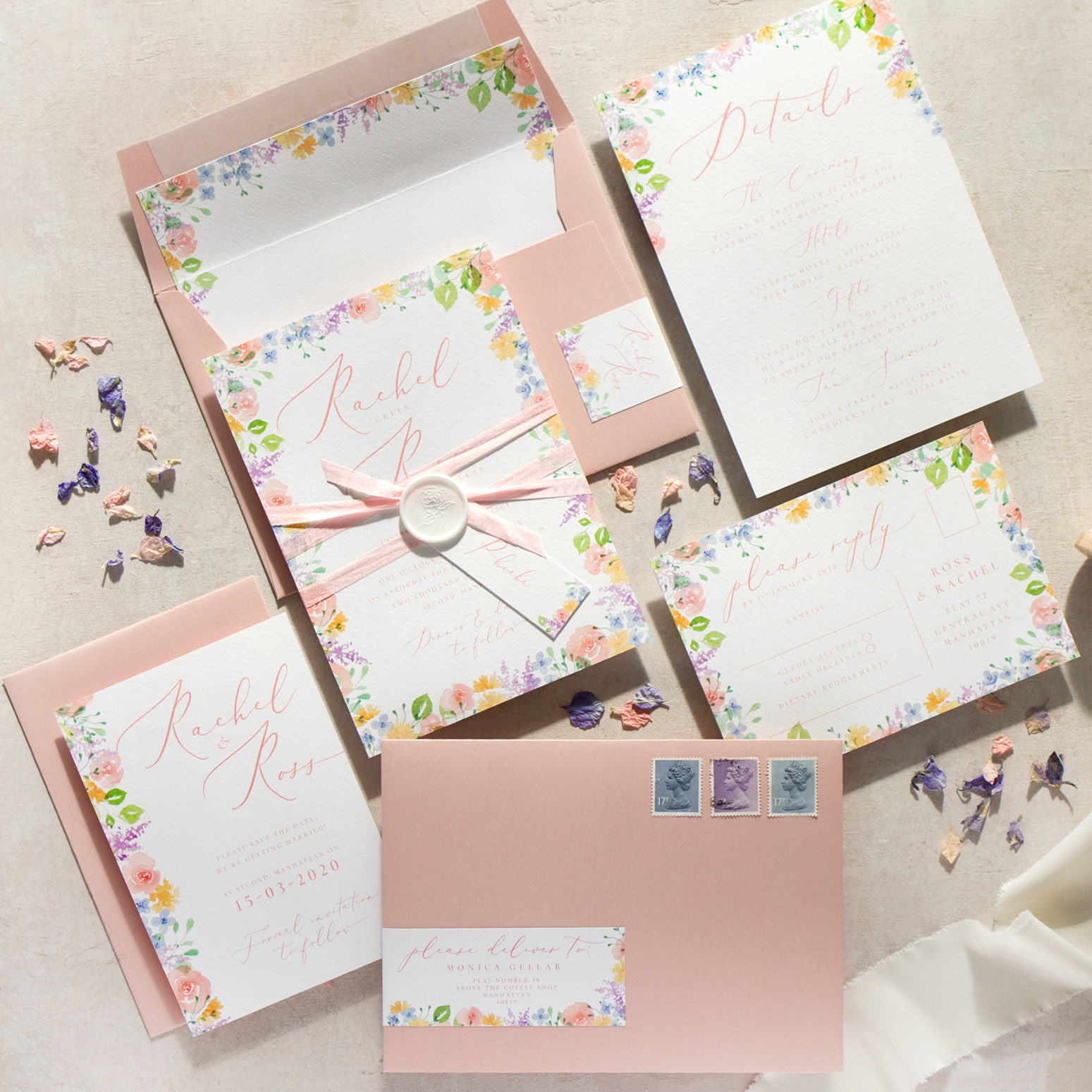 Spring Heath Luxe Wedding Stationery with Hand Painted Watercolour Flowers and Blush Pink Envelopes - www.pinglepie.com.jpg