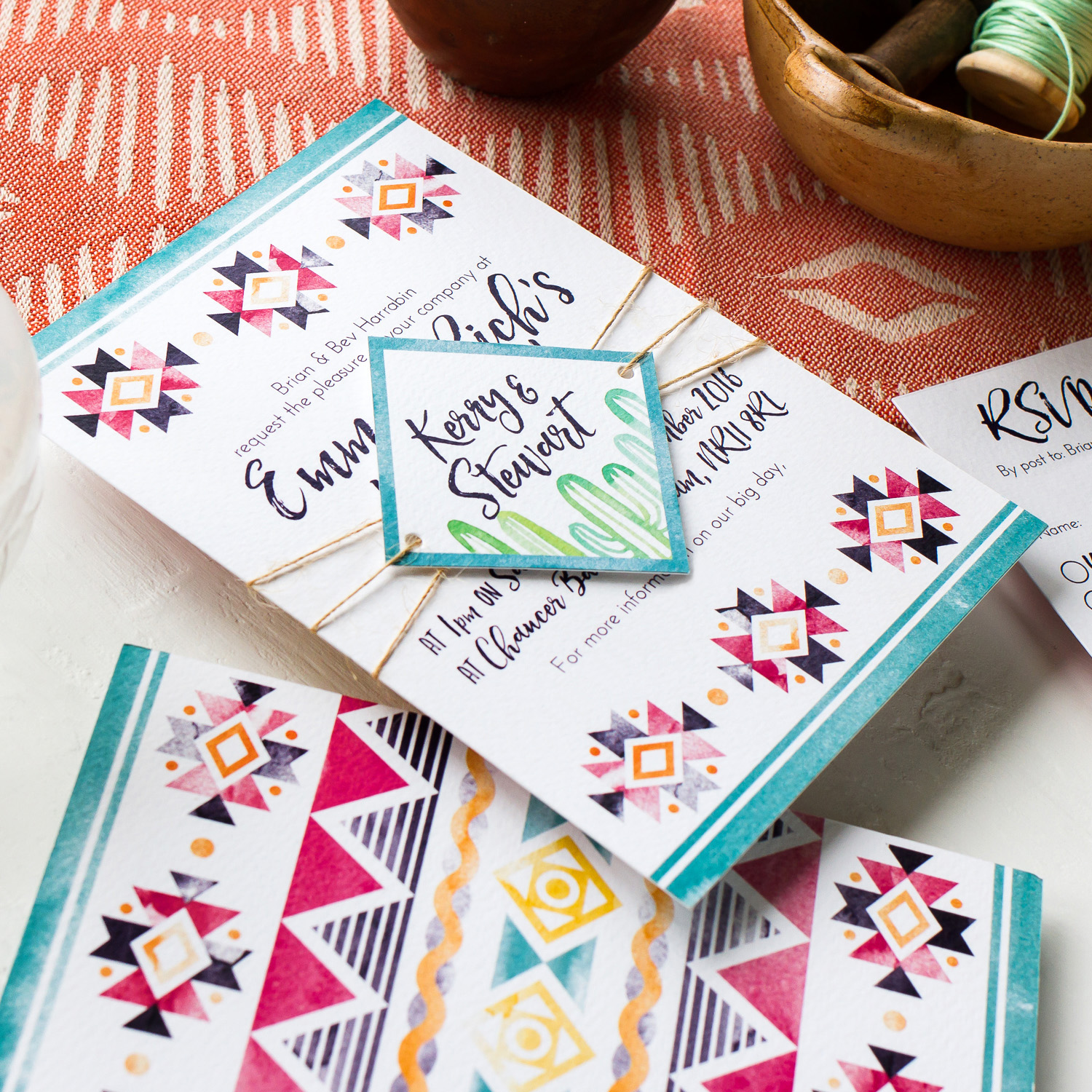 Emma and Rich Mexican Themed Custom Wedding Sationery with Mexican Pattern and Hand Painted Watercolour Cactus 3 - Pingle Pie.jpg