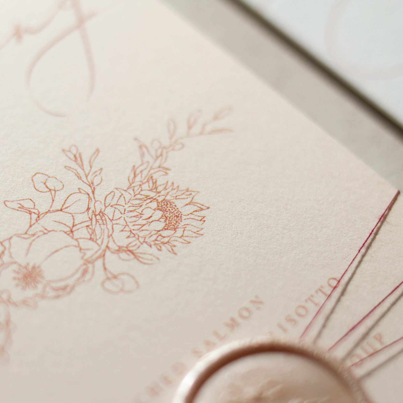 Blush Petals Illustrated Floral Wedding Menu Design with Blush Pink Wax Seal - www.pinglepie.com.jpg