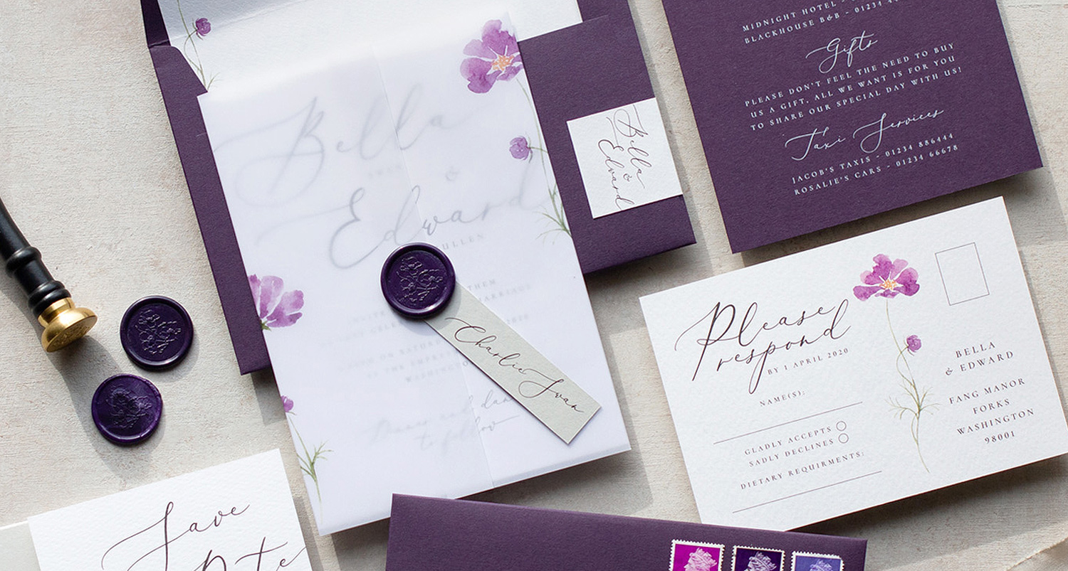 Purple Flower Wedding Invitation and Stationery.jpg