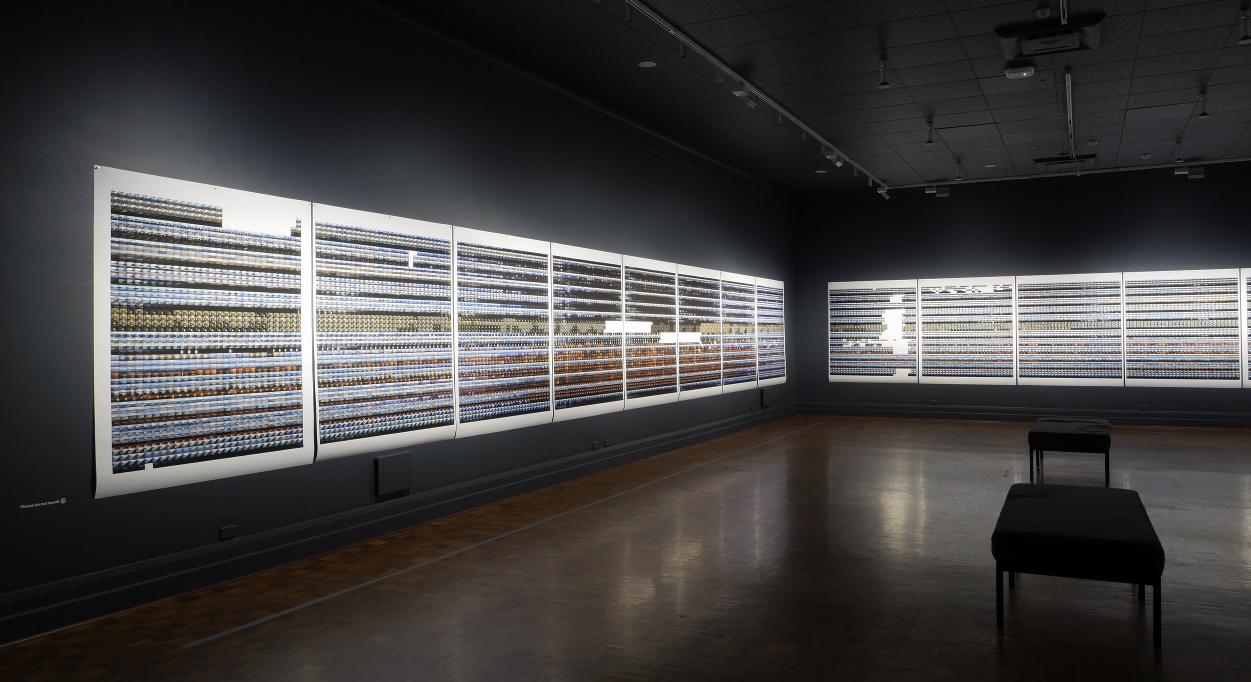 Installation view of  Matrix  in Argyle Gallery 2, 21 pigment ink prints containing more than 30,000 of the 2.5 million images captured by Derwent Time-lapse Array