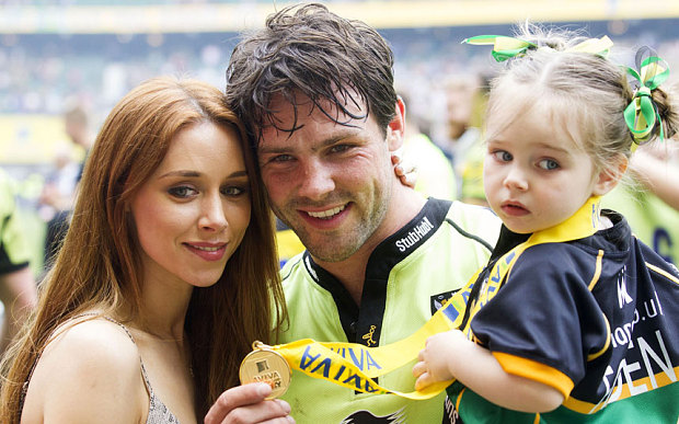 Una Foden, Ben Foden of Northampton Saints and Aoife Belle Foden celebrate after the Aviva Premiership Final     Photo: Rex Features