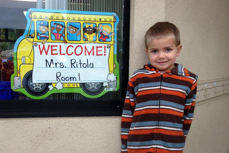 Rhett Krawitt, 6, outside his school in Tiburon, Calif. Seven percent of the children in his school are not vaccinated. Courtesy of Carl Krawitt