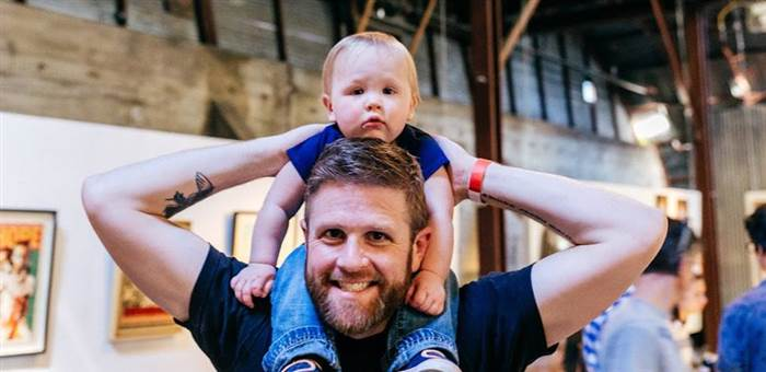"""""""Baby talk isn't my personality,"""" says Jason Jepson with his daughter, Harper.  Helena Christine Jepsen"""