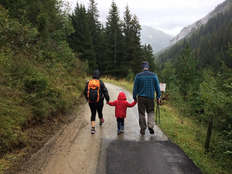 hiking family