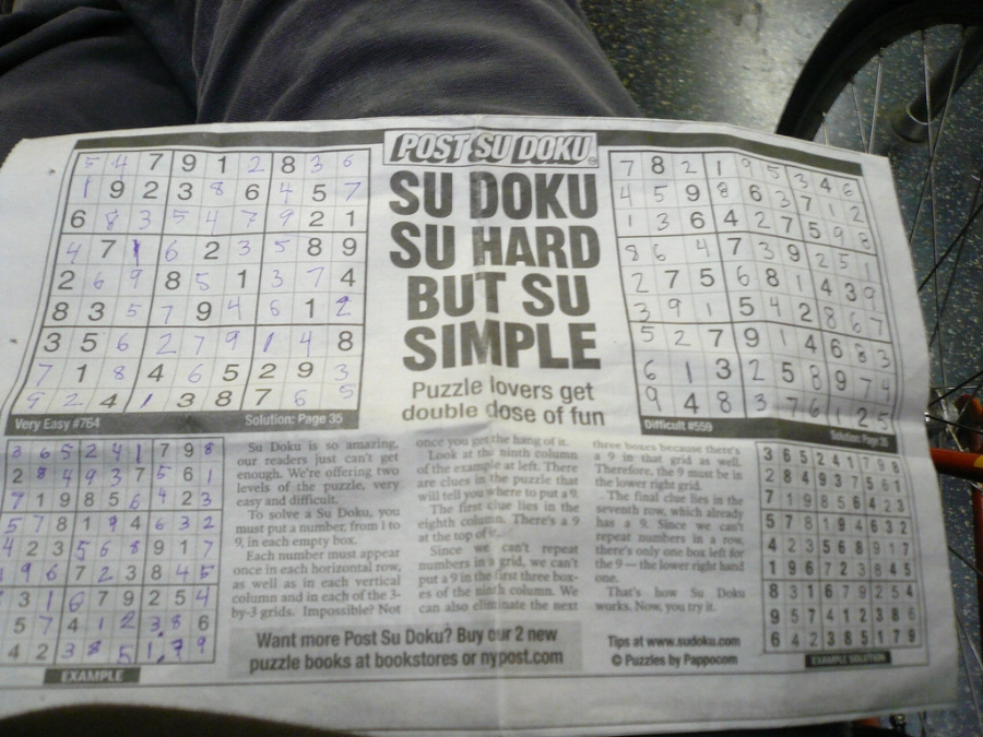 Sudoku is commonly found in the puzzle section of newspapers (  photo  by Ref Roof)